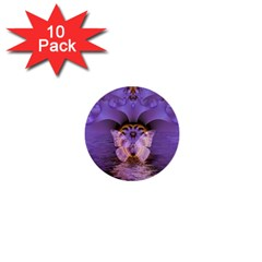 Artsy Purple Awareness Butterfly 1  Mini Button (10 Pack) by FunWithFibro