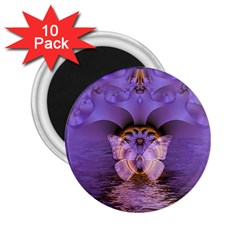 Artsy Purple Awareness Butterfly 2 25  Button Magnet (10 Pack) by FunWithFibro