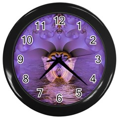 Artsy Purple Awareness Butterfly Wall Clock (black) by FunWithFibro