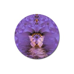Artsy Purple Awareness Butterfly Magnet 3  (round) by FunWithFibro