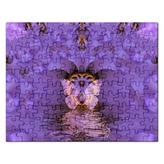 Artsy Purple Awareness Butterfly Jigsaw Puzzle (rectangle) by FunWithFibro
