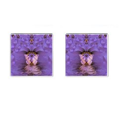 Artsy Purple Awareness Butterfly Cufflinks (square) by FunWithFibro