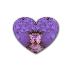 Artsy Purple Awareness Butterfly Drink Coasters (heart) by FunWithFibro