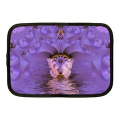 Artsy Purple Awareness Butterfly Netbook Sleeve (medium) by FunWithFibro