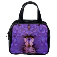 Artsy Purple Awareness Butterfly Classic Handbag (one Side) by FunWithFibro