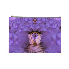 Artsy Purple Awareness Butterfly Cosmetic Bag (large) by FunWithFibro