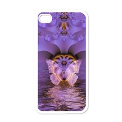 Artsy Purple Awareness Butterfly Apple Iphone 4 Case (white) by FunWithFibro