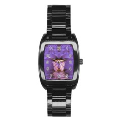 Artsy Purple Awareness Butterfly Stainless Steel Barrel Watch by FunWithFibro