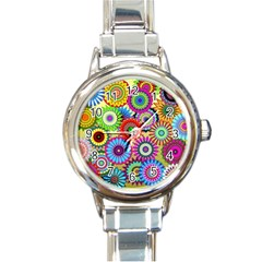Psychedelic Flowers Round Italian Charm Watch by StuffOrSomething