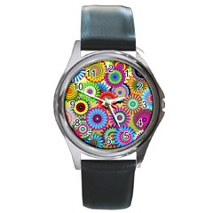 Psychedelic Flowers Round Leather Watch (silver Rim) by StuffOrSomething