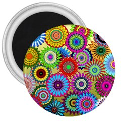 Psychedelic Flowers 3  Button Magnet by StuffOrSomething