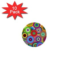Psychedelic Flowers 1  Mini Button (10 Pack) by StuffOrSomething