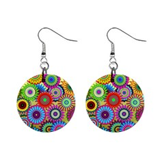 Psychedelic Flowers Mini Button Earrings by StuffOrSomething