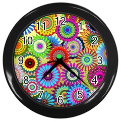 Psychedelic Flowers Wall Clock (black) by StuffOrSomething