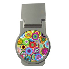Psychedelic Flowers Money Clip (round) by StuffOrSomething