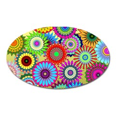 Psychedelic Flowers Magnet (oval) by StuffOrSomething