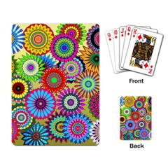 Psychedelic Flowers Playing Cards Single Design by StuffOrSomething