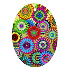 Psychedelic Flowers Oval Ornament (two Sides) by StuffOrSomething