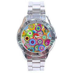 Psychedelic Flowers Stainless Steel Watch by StuffOrSomething