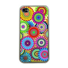 Psychedelic Flowers Apple Iphone 4 Case (clear) by StuffOrSomething