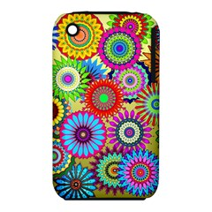 Psychedelic Flowers Apple Iphone 3g/3gs Hardshell Case (pc+silicone) by StuffOrSomething