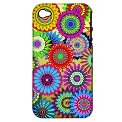 Psychedelic Flowers Apple Iphone 4/4s Hardshell Case (pc+silicone) by StuffOrSomething