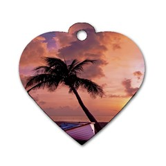 Sunset At The Beach Dog Tag Heart (one Sided)  by StuffOrSomething
