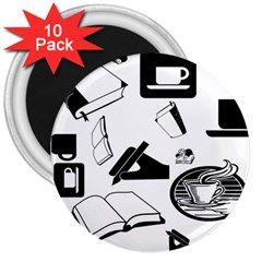 Books And Coffee 3  Button Magnet (10 Pack) by StuffOrSomething