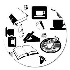 Books And Coffee Magnet 5  (round) by StuffOrSomething