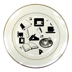 Books And Coffee Porcelain Display Plate by StuffOrSomething