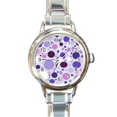 Passion For Purple Round Italian Charm Watch by StuffOrSomething