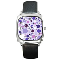 Passion For Purple Square Leather Watch