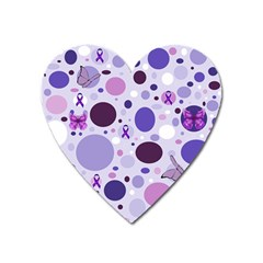 Purple Awareness Dots Magnet (heart) by FunWithFibro