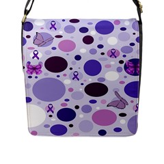 Purple Awareness Dots Flap Closure Messenger Bag (large) by FunWithFibro
