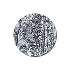 castle Yard In Winter  By Ave Hurley Of Artrevu   Rubber Coaster (round) by ArtRave2