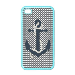 Grey Chevron With Navy Anchor Apple Iphone 4 Case (color) by thelittlelady
