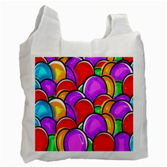 Colored Easter Eggs White Reusable Bag (one Side)