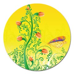 Whimsical Tulips Magnet 5  (round) by StuffOrSomething