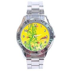Whimsical Tulips Stainless Steel Watch by StuffOrSomething