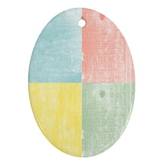 Pastel Textured Squares Oval Ornament by StuffOrSomething