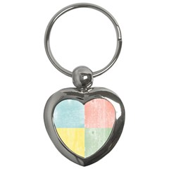 Pastel Textured Squares Key Chain (heart) by StuffOrSomething