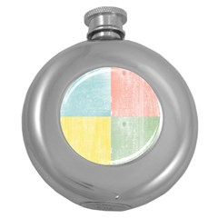 Pastel Textured Squares Hip Flask (round) by StuffOrSomething