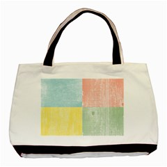 Pastel Textured Squares Twin Sided Black Tote Bag by StuffOrSomething