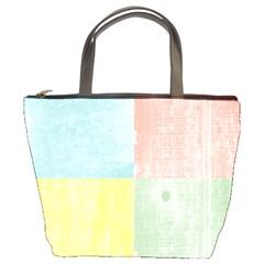 Pastel Textured Squares Bucket Handbag