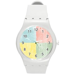 Pastel Textured Squares Plastic Sport Watch (medium) by StuffOrSomething
