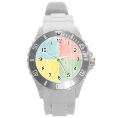 Pastel Textured Squares Plastic Sport Watch (large) by StuffOrSomething