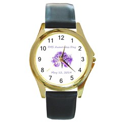 Fms Awareness 2014 Round Leather Watch (gold Rim)  by FunWithFibro