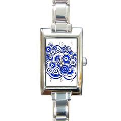 Trippy Blue Swirls Rectangular Italian Charm Watch by StuffOrSomething