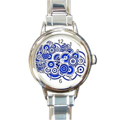 Trippy Blue Swirls Round Italian Charm Watch by StuffOrSomething