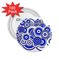 Trippy Blue Swirls 2 25  Button (100 Pack) by StuffOrSomething